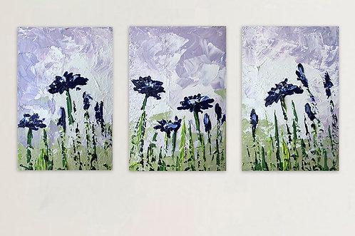 Tarde de flores (triptico de 30 x 60 cms)