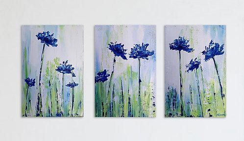 Centáureas floreciendo (triptico de 30 x 60 cms)