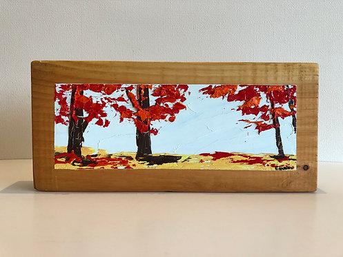 Oleo sobre Oregón XVI (30 x 14 x 4 cms)