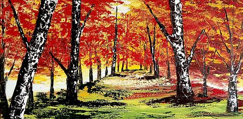 Caminando en el otoño (40 x 80 cms)