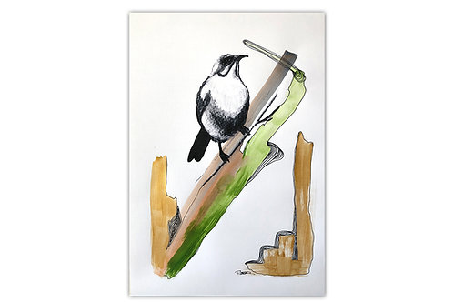 Pájaro sobre rama - I (28 x 43 cms)