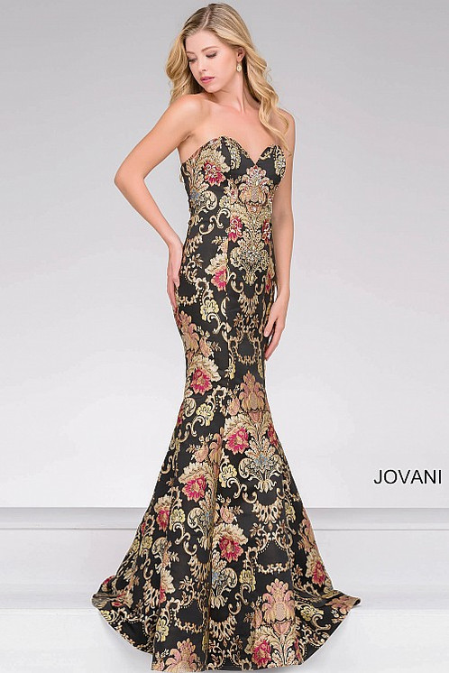 Black Multi Embroidered Mermaid Prom Dress | Apropos Prom and Bridal ...