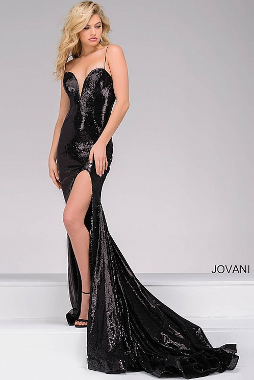 Black High Slit Sequin Dress