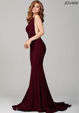 Royal Jersey Low Back Prom Dress