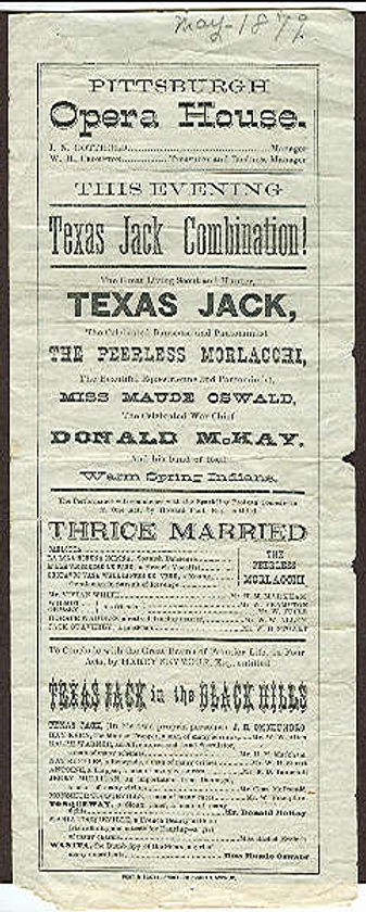 Broadside advertisement for the Texas Jack Combination