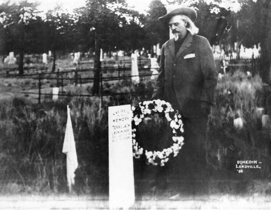 Buffalo Bill Cody at the grave of Texas Jack Omohundro