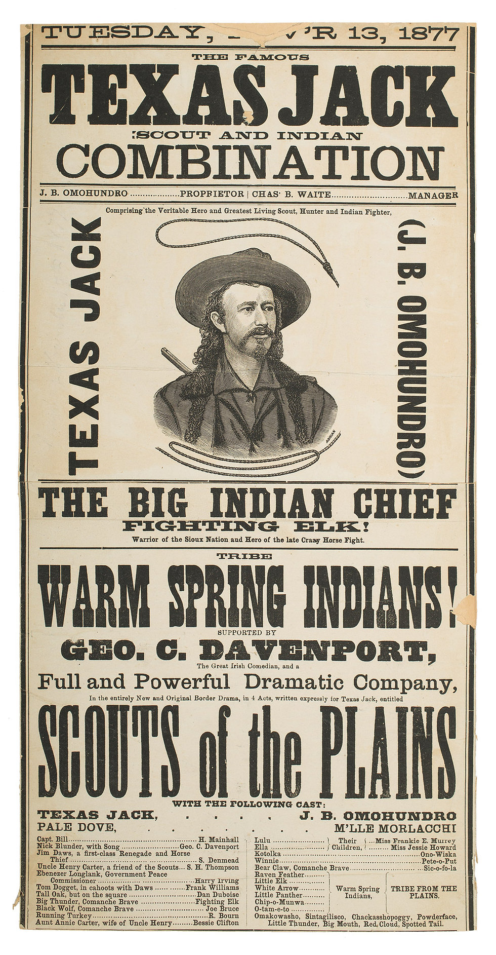 Broadsheet advertisement for the Texas Jack Combination