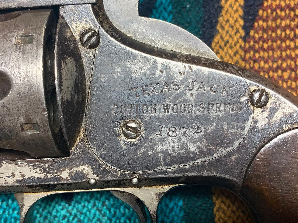 Closeup of inscription on Texas Jack's Smith & Wesson Model 3 1st Model American revovler