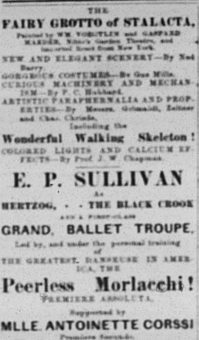 April 1880 advertisement for Morlacchi in the Black Crook - Leadville, Colorado