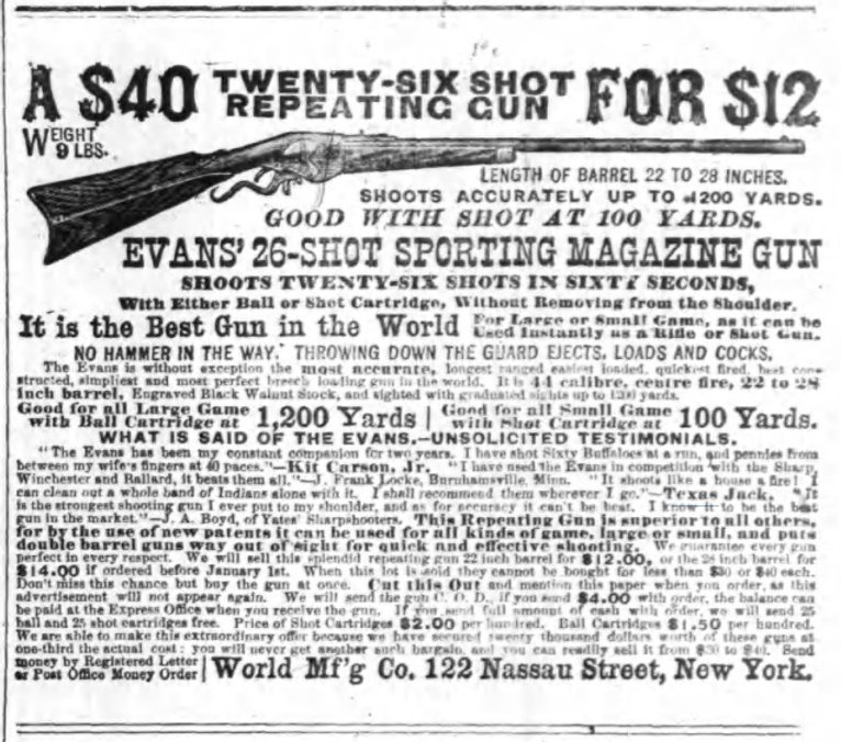 Advertisement for Evans Repeating Rifle with quote from Texas Jack