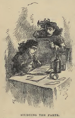 Illustration of Buffalo Bill and Texas Jack learning their parts from Cody's autobiography