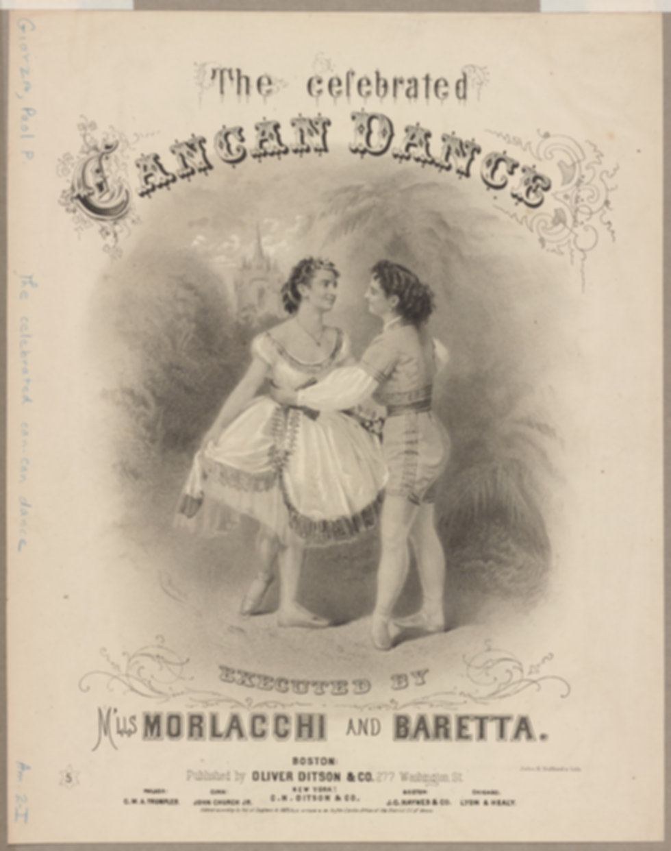The celebrated cancan dance executed by M'lls Morlacchi and Baretta