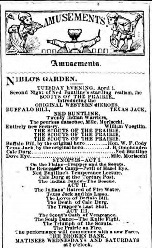 Advertisement for The Scouts of the Prairie at Niblo's Garden on Broadway