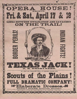 Advertisement for The Scouts of the Plains (1874) featuring Texas Jack