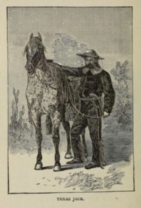 Illustration of Texas Jack from Famous frontiersmen, pioneers and scouts by Cattermole, E. G
