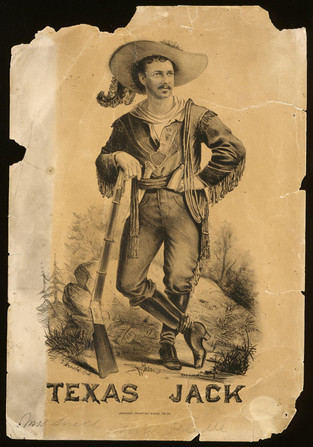 Litographic print advertisement for The Scouts of the Prairie featuring Texas Jack