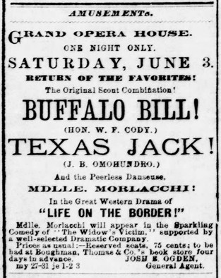 Advertisment for the final ever appearance of Buffalo Bill and Texas Jack together.
