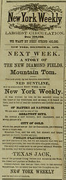 Advertisement for Ned Buntline stories in The New York Weekly