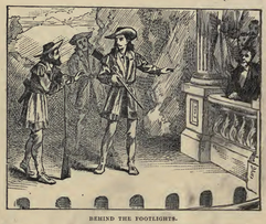Illustration of Buffalo Bill, Texas Jack, and Ned Buntline on Stage from Cody's autobiography