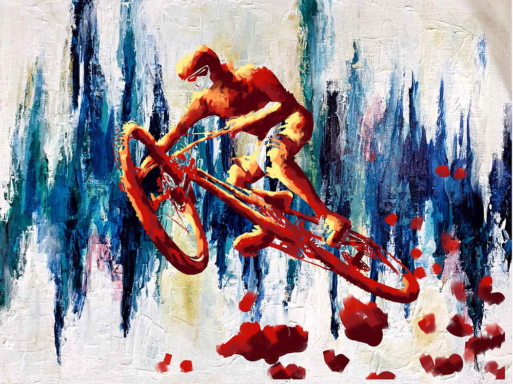 Painting of mountain biker leaping through the air, in red and gold, against a blue and white abstract background, by Nelson Ruger