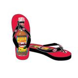 Red and black flip-flop sandals with El Yucateco hot sauce bottle printed on the top red surface.