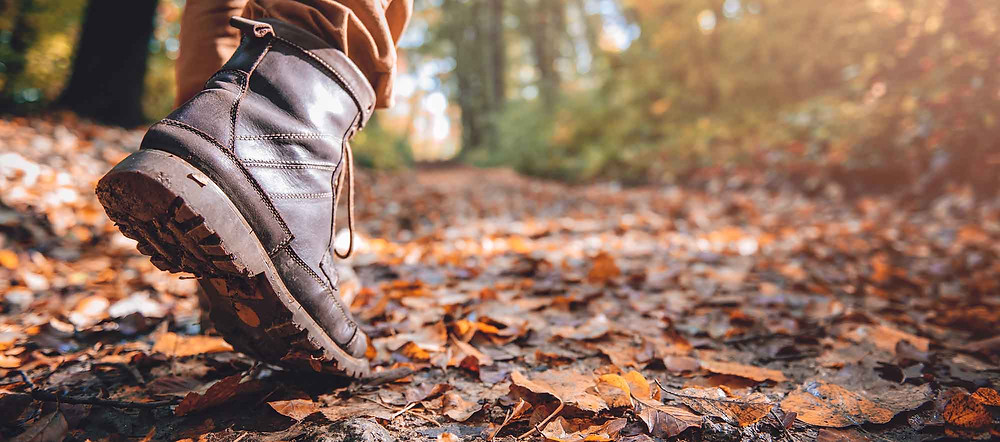 Person's feet in brown hiking boots, walking along a woodland trail covered in fall leaves