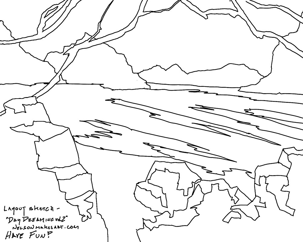 Black line drawing of tropical beach with lagoon and rocks