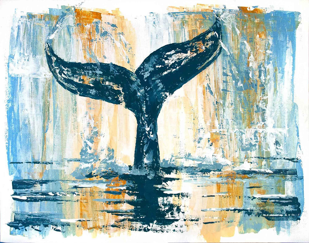 Original acrylic painting of a whale or mermaid tail diving into the ocean, in navy, light blue, brown, and white abstract style