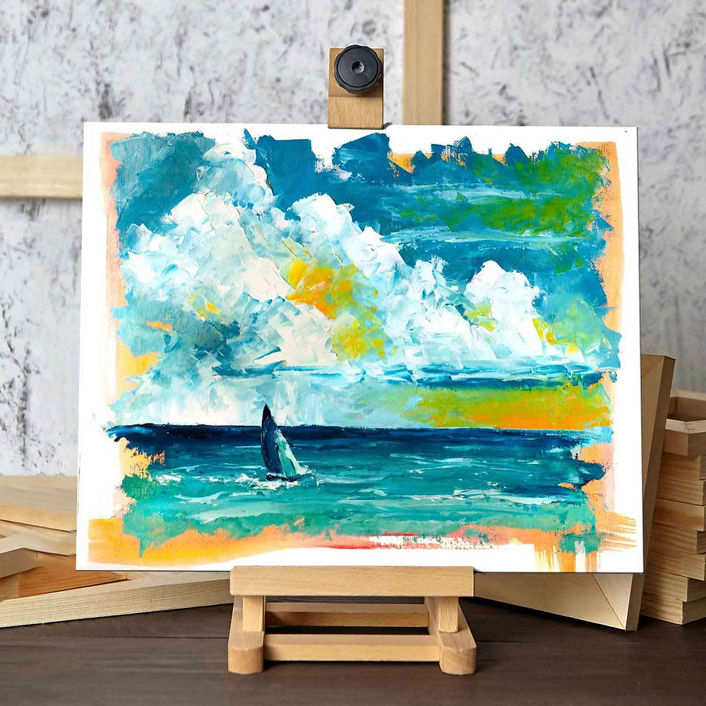 Original painting of a sailboat on a calm sea, with turquoise and yellow clouds in the sky, in an abstract modern art style