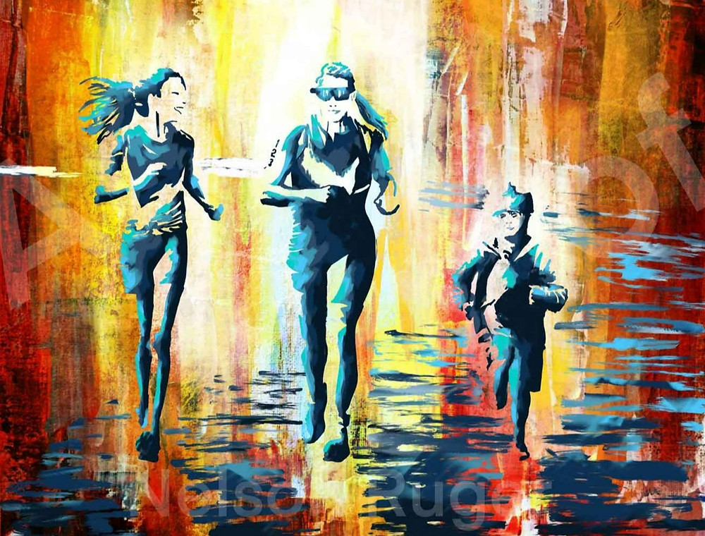 Portrait of family running in a marathon, in blue and green, against an abstract gold and red background, by Nelson Ruger