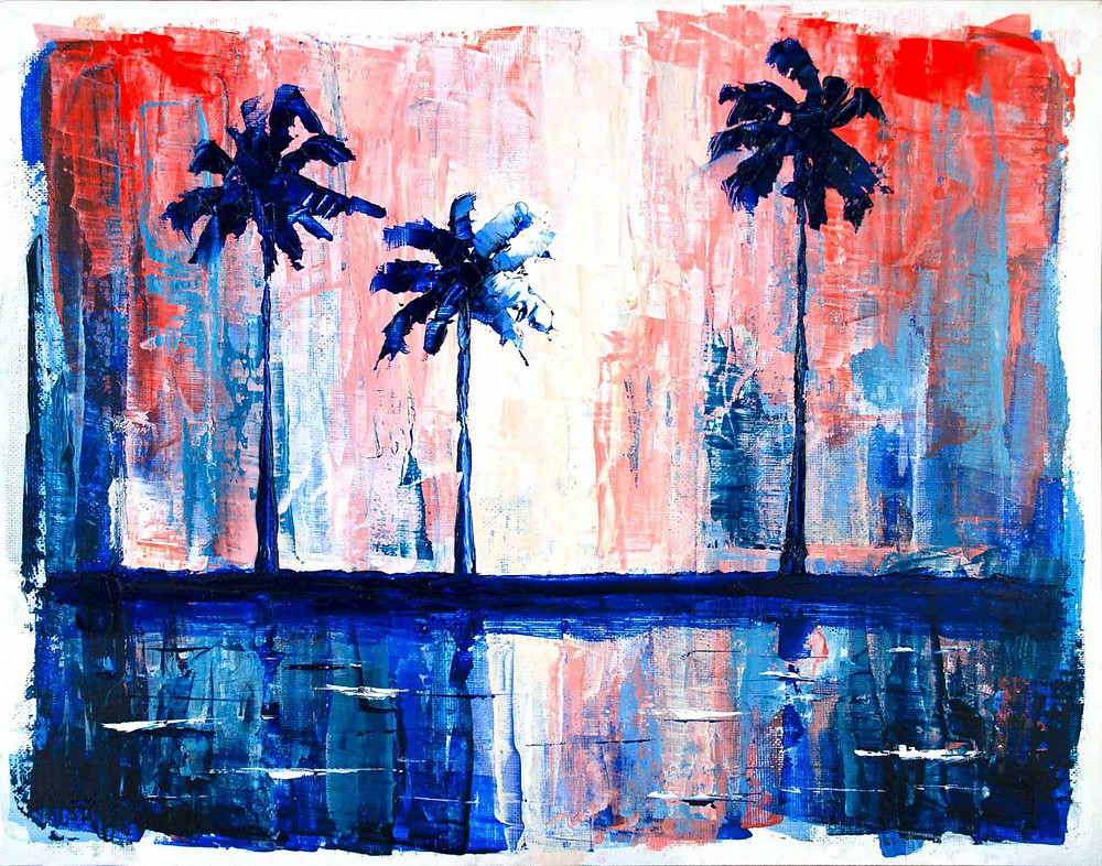Original acrylic painting of navy blue palm trees silhouetted against a red, white, and blue sky.