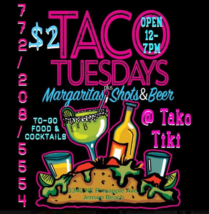 Brightly colored painted sign on black background for Taco Tuesdays with margarita shots and beer from Taco Tiki, Jensen Beach, Florida