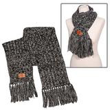 Heathered dark gray scarf with small El Yucateco logo with gray fringe sitting on a white background.