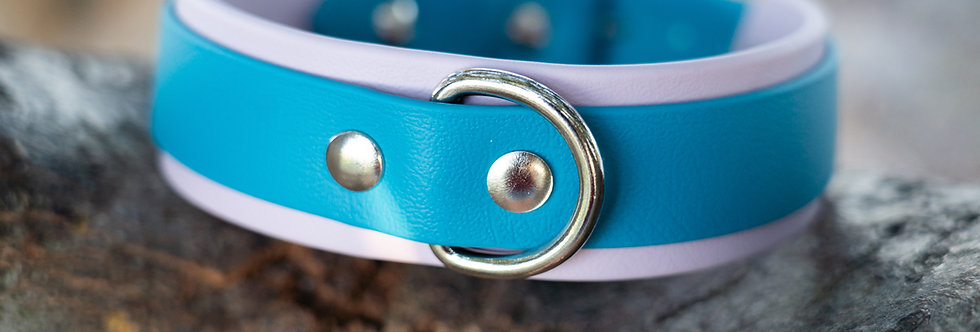 """1.5"""" Double Layer Rear D-ring Biothane Collar"""