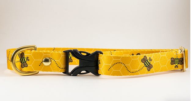 "1"" Busy Bee Webbing Dog Collar"
