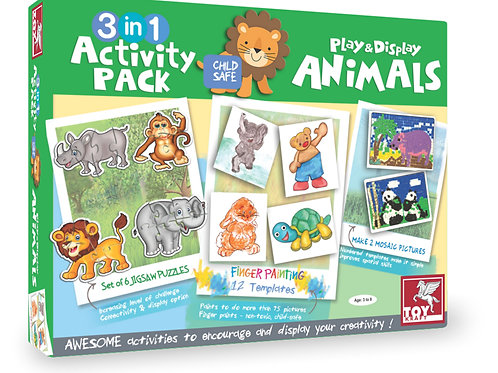 3 IN 1 ACTIVITY PACK - ANIMALS for kids ages 3 and above