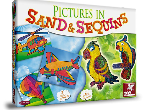 Pictures In Sand And Sequins arts and craft games for kids ages 3 and above
