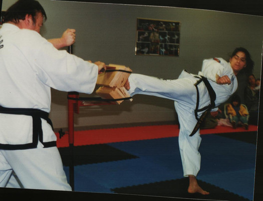 6-8 boards, turn back kick