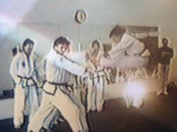 Twin front kick, Ms. G. 1988