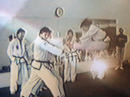 """2nd Dan test, 1988, twin front kick, the holder is 6'2"""" tall!"""