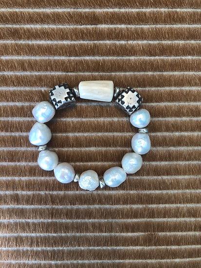 freshwater pearl bracelet + silver + horn