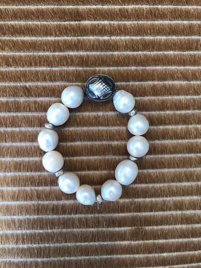 freshwater pearl bracelet + silver