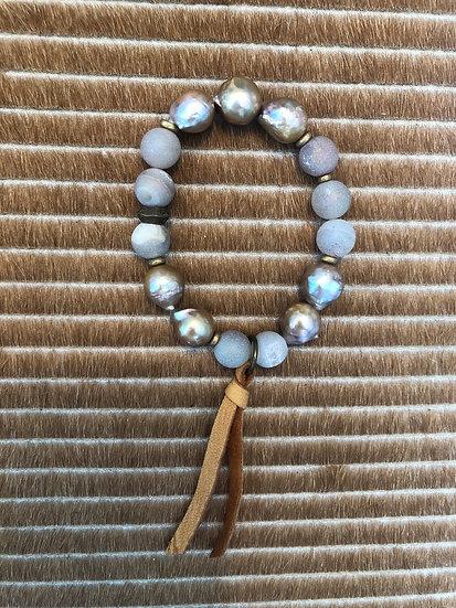 champagne pearl bracelet + druzy+ suede
