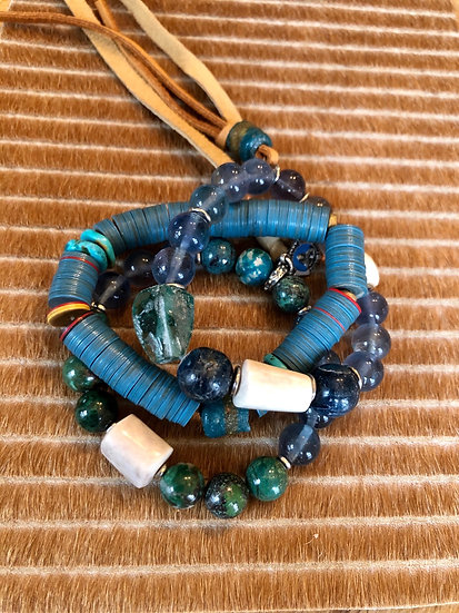 bright blue +green set of three bracelets