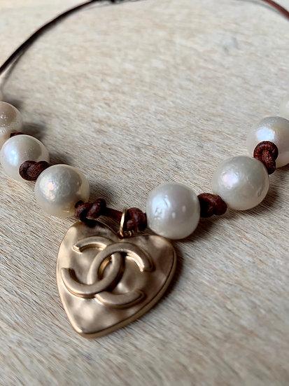 Chanel heart + pearls