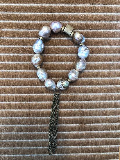 champagne baroque pearl bracelet + brass tassel