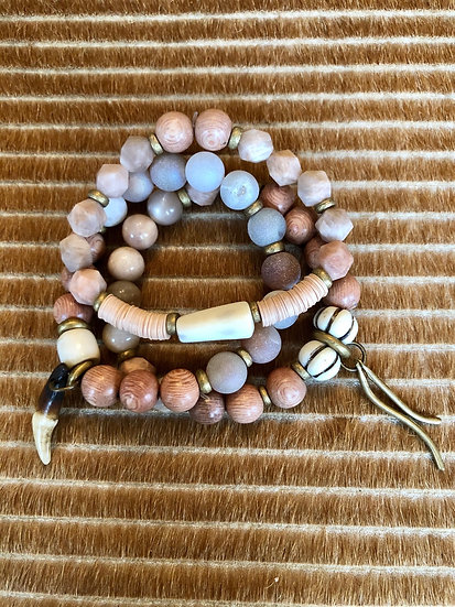 blush set of three bracelets