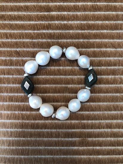 freshwater pearl bracelet + jade