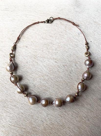 pearl + leather choker
