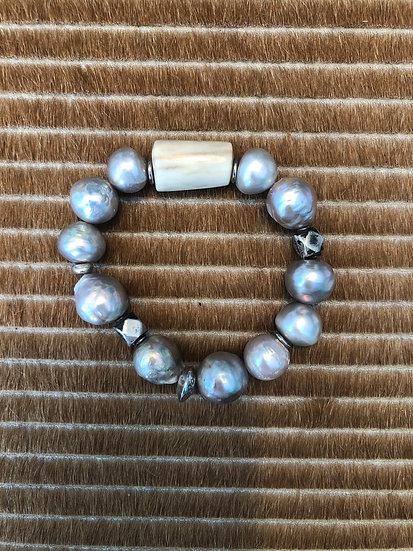 freshwater grey pearl bracelet + horn